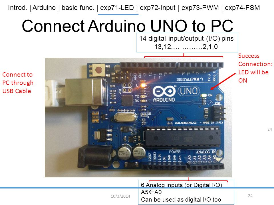 Introd. | Arduino | basic func. | exp71-LED | exp72-Input | exp73-PWM | exp74-FSM Connect Arduino UNO to PC 24 Connect to PC through USB Cable Success