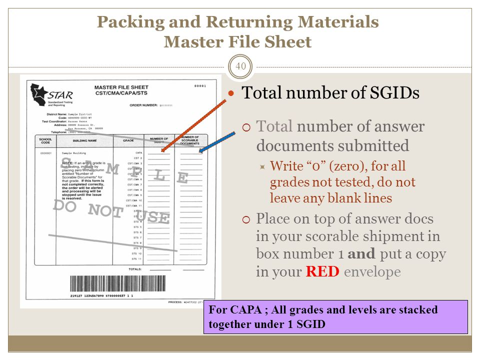 Packing and Returning Materials Master File Sheet Total number of SGIDs  Total number of answer documents submitted  Write 0 (zero), for all grades not tested, do not leave any blank lines  Place on top of answer docs in your scorable shipment in box number 1 and put a copy in your RED envelope For CAPA ; All grades and levels are stacked together under 1 SGID 40