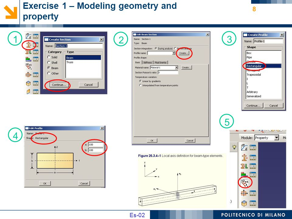 Es02 Es-02 Exercise 2 – data problem 9 Geometry: L=1 m; A=100x100 mm Material: E=210 GPa; ν=0.3 Load: p=1 N/mm Write the relation of internal load e solve the analytic problem of the deformed shape of the iperstatic beam