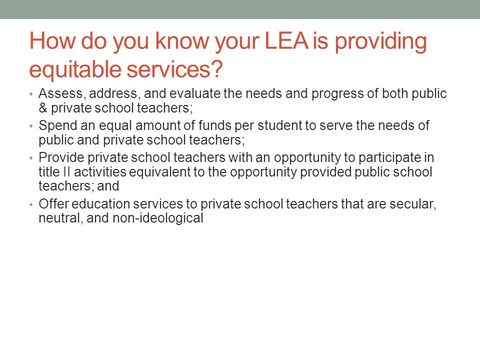 How do you know your LEA is providing equitable services.