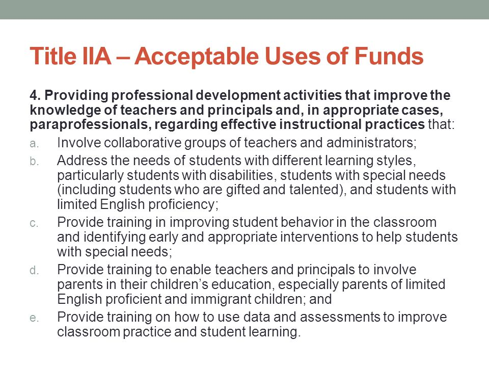 There is a Minimum The statute requires that an LEA spend at least as much for professional development under Title II, Part A as it did in fiscal year (FY) 2001 under the former Eisenhower Professional Development and Class-Size Reduction programs.