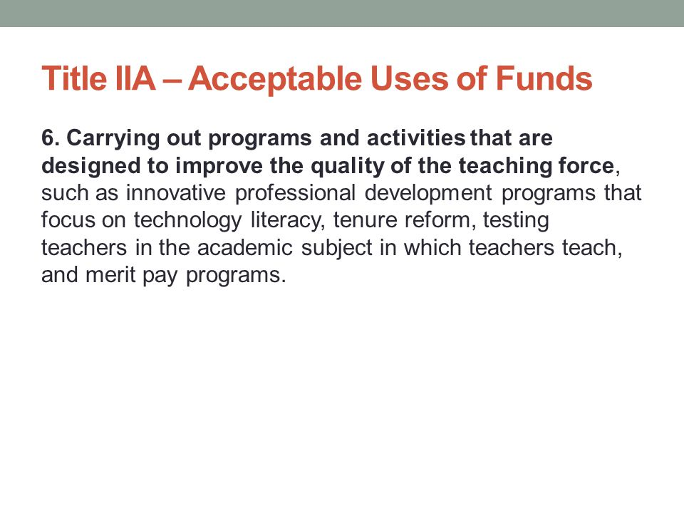 Title IIA – Student Outcome(s) State how the PD will have a substantial, measurable, and positive impact on student achievement Must have a quantifiable measure Must have a quantifiable target Must have a methodology for evaluating that target (who, how, when, etc.)