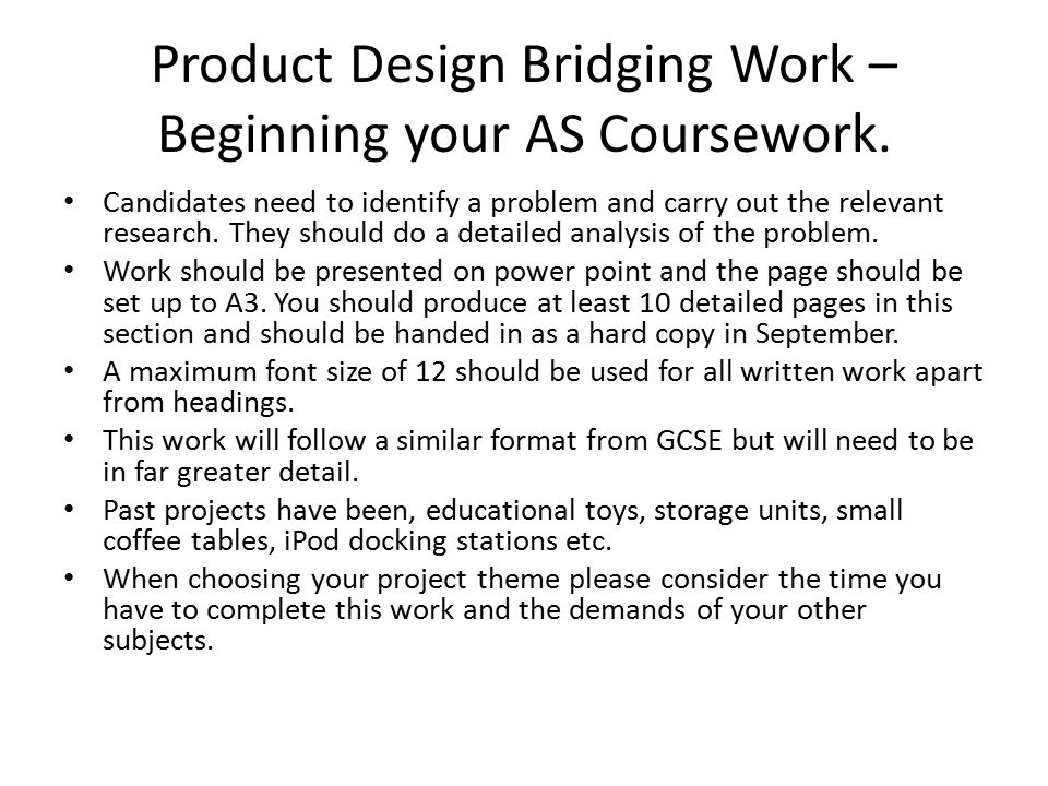 Product Design Bridging Work – Beginning your AS Coursework.