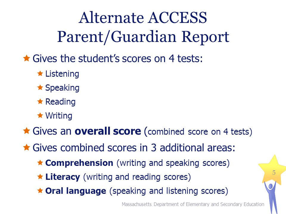 Alternate ACCESS Parent/Guardian Report  Gives the student's scores on 4 tests:  Listening  Speaking  Reading  Writing  Gives an overall score ( combined score on 4 tests)  Gives combined scores in 3 additional areas:  Comprehension (writing and speaking scores)  Literacy (writing and reading scores)  Oral language (speaking and listening scores) Massachusetts Department of Elementary and Secondary Education 5