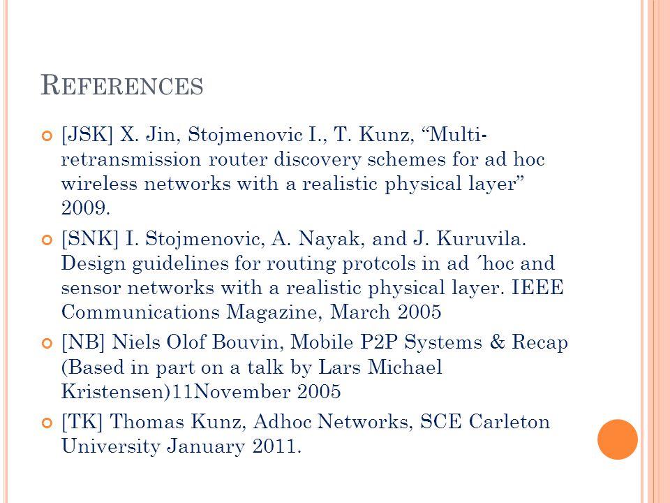 R EFERENCES [JSK] X. Jin, Stojmenovic I., T.