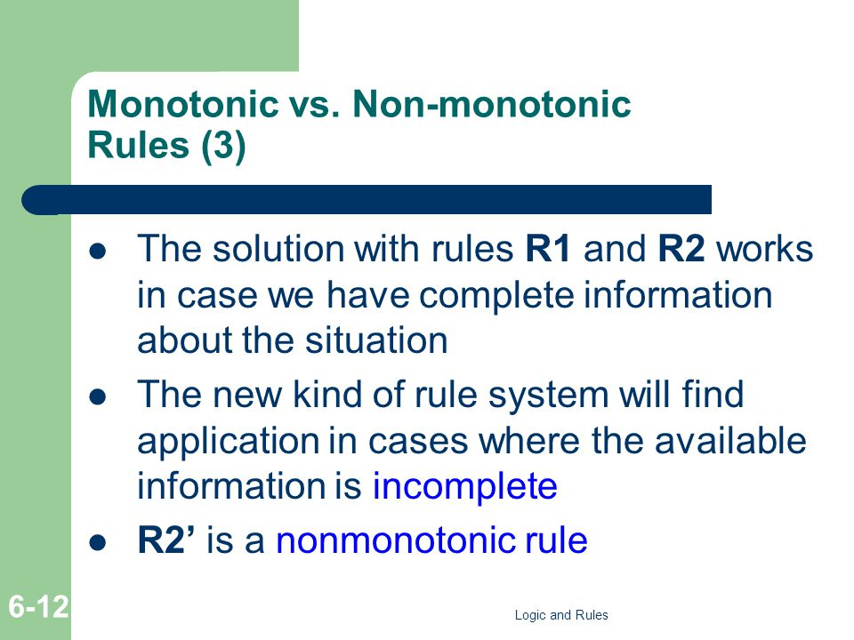 Monotonic vs. Non-monotonic Rules (3) The solution with rules R1 and R2 works in case we have complete information about the situation The new kind of