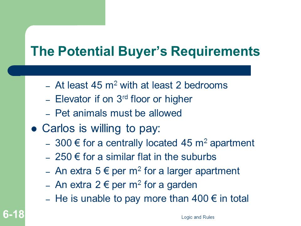The Potential Buyer's Requirements – At least 45 m 2 with at least 2 bedrooms – Elevator if on 3 rd floor or higher – Pet animals must be allowed Carl