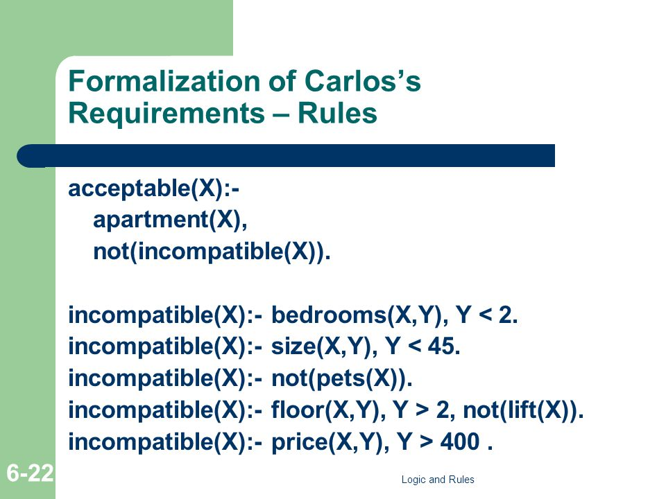 Formalization of Carlos's Requirements – Rules acceptable(X):- apartment(X), not(incompatible(X)). incompatible(X):- bedrooms(X,Y), Y < 2. incompatibl