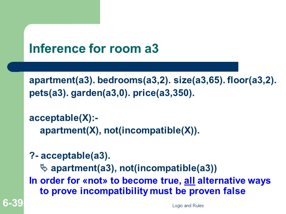Inference for room a3 apartment(a3). bedrooms(a3,2). size(a3,65). floor(a3,2). pets(a3). garden(a3,0). price(a3,350). acceptable(X):- apartment(X), no