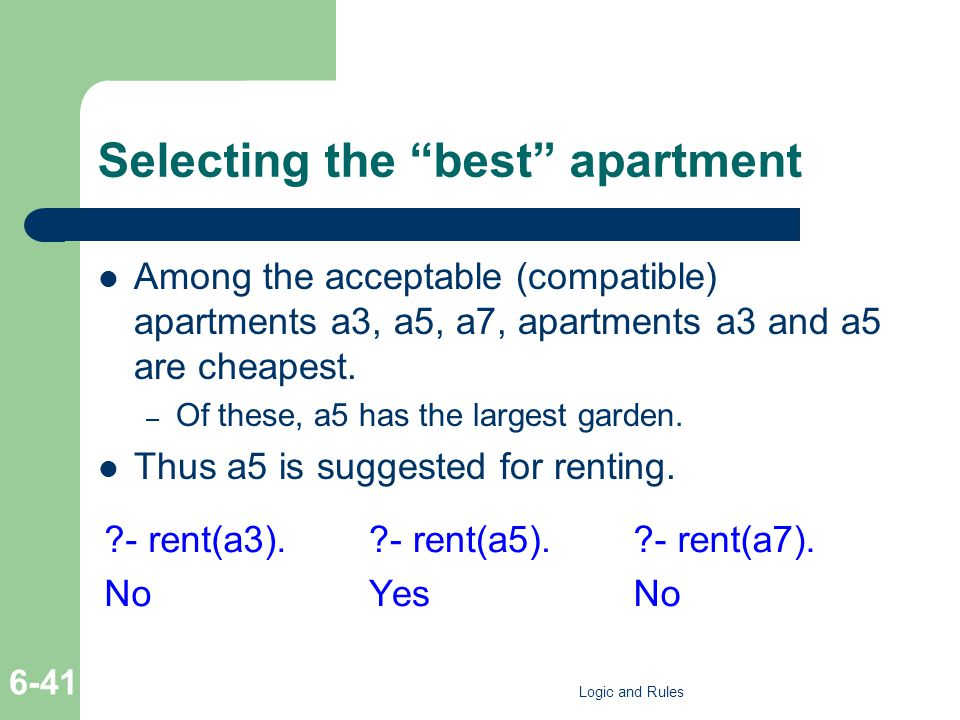 "Selecting the ""best"" apartment Among the acceptable (compatible) apartments a3, a5, a7, apartments a3 and a5 are cheapest. – Of these, a5 has the larg"