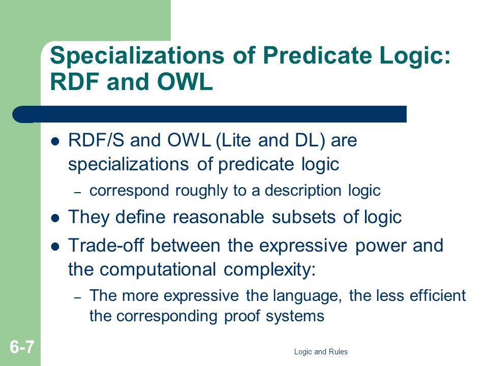 Specializations of Predicate Logic: RDF and OWL RDF/S and OWL (Lite and DL) are specializations of predicate logic – correspond roughly to a descripti