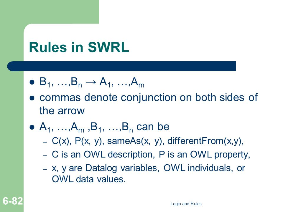 Rules in SWRL B 1, …,B n → A 1, …,A m commas denote conjunction on both sides of the arrow A 1, …,A m,B 1, …,B n can be – C(x), P(x, y), sameAs(x, y), differentFrom(x,y), – C is an OWL description, P is an OWL property, – x, y are Datalog variables, OWL individuals, or OWL data values.