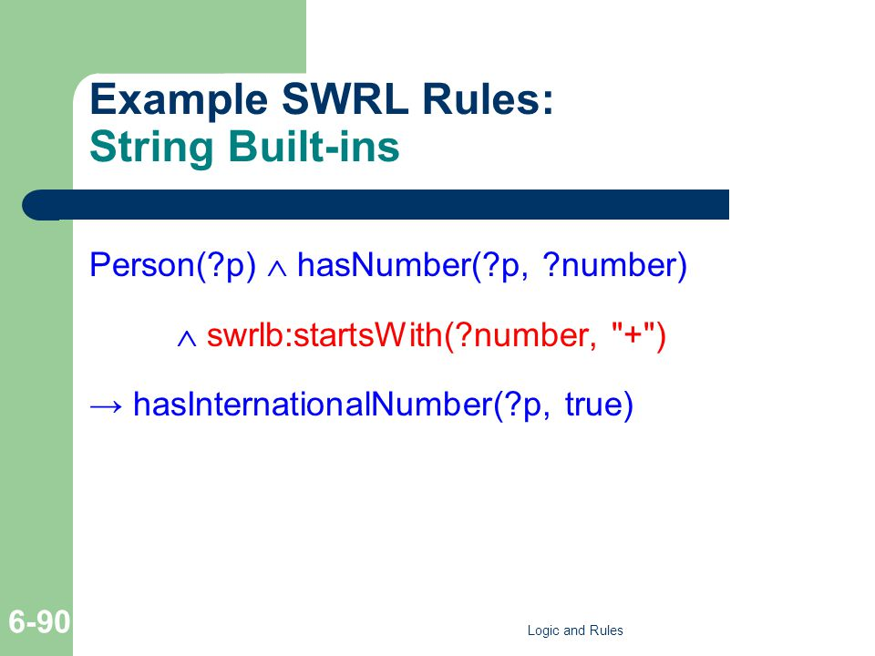 Example SWRL Rules: String Built-ins Person( p)  hasNumber( p, number)  swrlb:startsWith( number, + ) → hasInternationalNumber( p, true) Logic and Rules 6-90