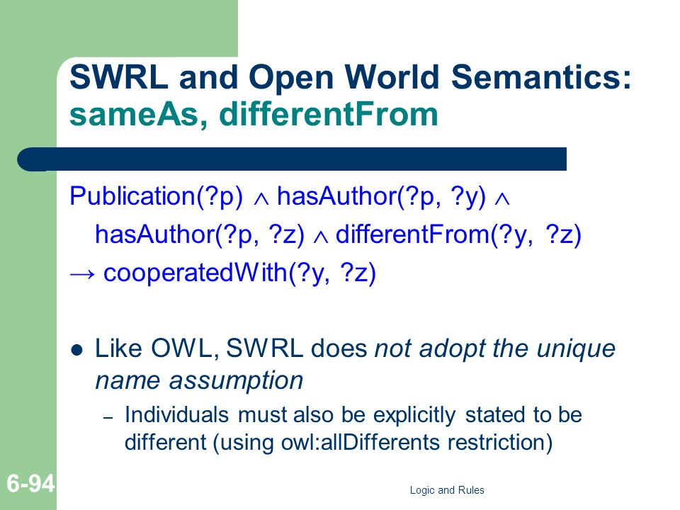 SWRL and Open World Semantics: sameAs, differentFrom Publication(?p)  hasAuthor(?p, ?y)  hasAuthor(?p, ?z)  differentFrom(?y, ?z) → cooperatedWith(