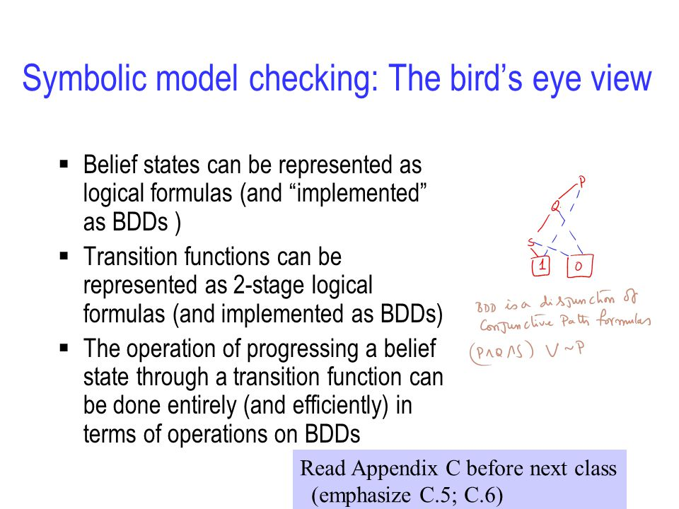 Symbolic model checking: The bird's eye view  Belief states can be represented as logical formulas (and implemented as BDDs )  Transition functions can be represented as 2-stage logical formulas (and implemented as BDDs)  The operation of progressing a belief state through a transition function can be done entirely (and efficiently) in terms of operations on BDDs Read Appendix C before next class (emphasize C.5; C.6)