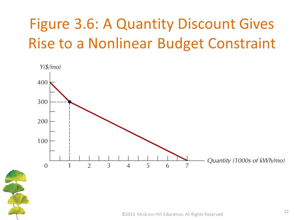 Figure 3.6: A Quantity Discount Gives Rise to a Nonlinear Budget Constraint ©2015 McGraw-Hill Education. All Rights Reserved. 12