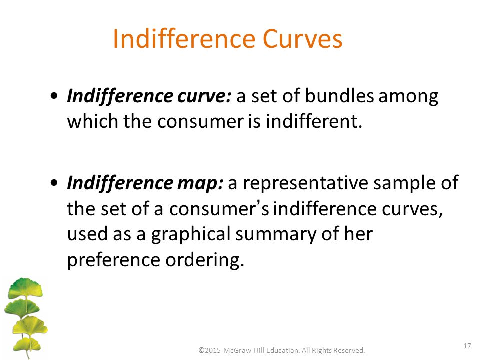 Indifference Curves ©2015 McGraw-Hill Education. All Rights Reserved.