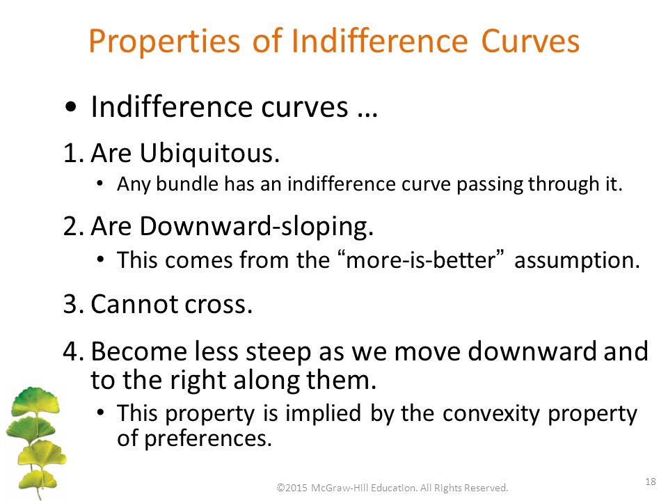 Properties of Indifference Curves ©2015 McGraw-Hill Education.