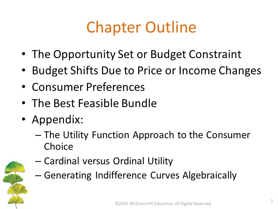 Chapter Outline The Opportunity Set or Budget Constraint Budget Shifts Due to Price or Income Changes Consumer Preferences The Best Feasible Bundle Ap