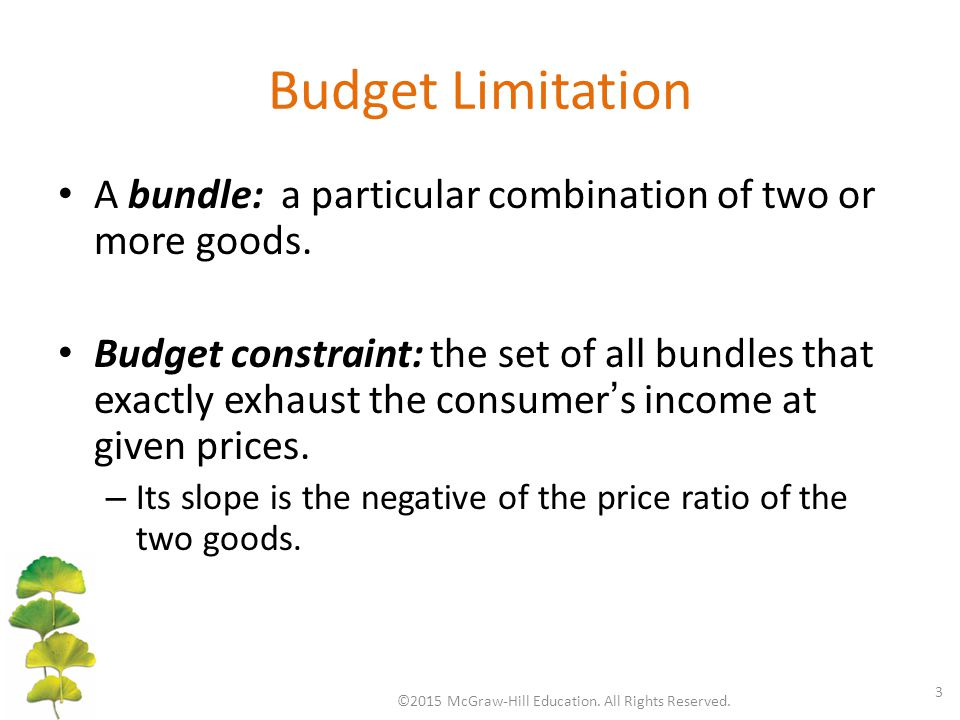 Budget Limitation A bundle: a particular combination of two or more goods. Budget constraint: the set of all bundles that exactly exhaust the consumer