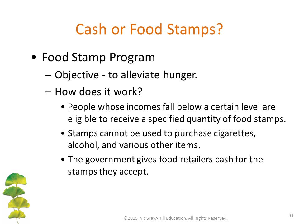 Cash or Food Stamps? ©2015 McGraw-Hill Education. All Rights Reserved. 31 Food Stamp Program –Objective - to alleviate hunger. –How does it work? Peop