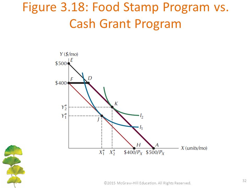 Figure 3.18: Food Stamp Program vs. Cash Grant Program ©2015 McGraw-Hill Education. All Rights Reserved. 32