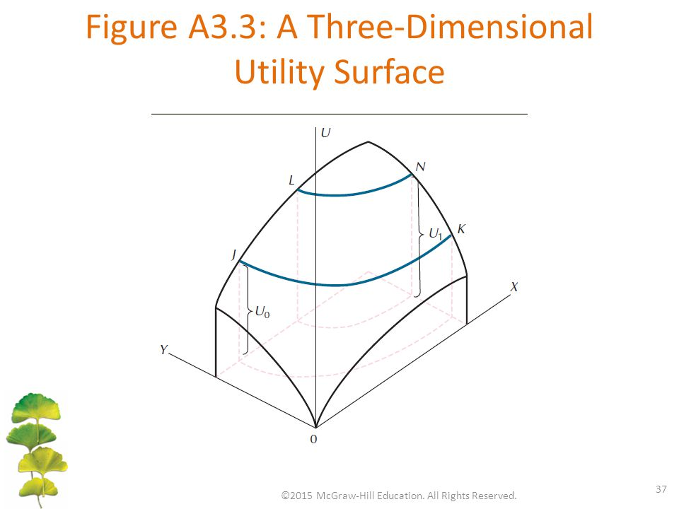 Figure A3.3: A Three-Dimensional Utility Surface ©2015 McGraw-Hill Education. All Rights Reserved. 37