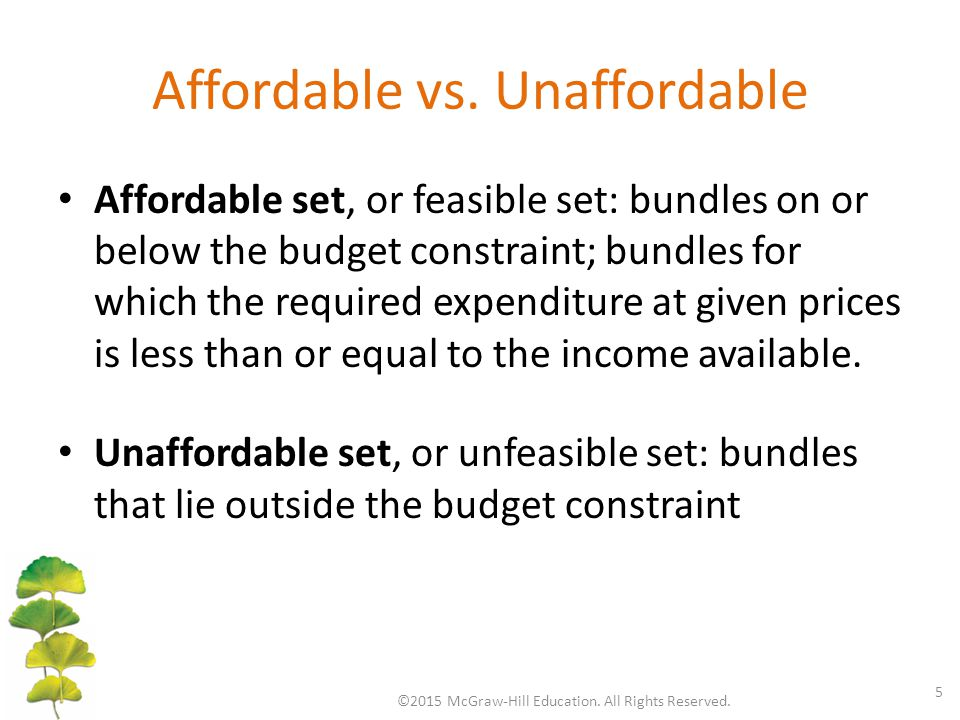Affordable vs. Unaffordable Affordable set, or feasible set: bundles on or below the budget constraint; bundles for which the required expenditure at
