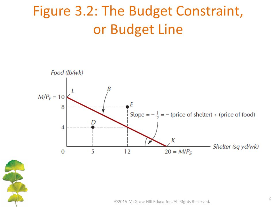 Figure 3.2: The Budget Constraint, or Budget Line ©2015 McGraw-Hill Education.
