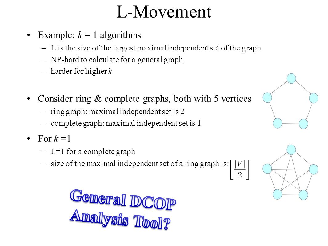L-Movement Example: k = 1 algorithms –L is the size of the largest maximal independent set of the graph –NP-hard to calculate for a general graph –har