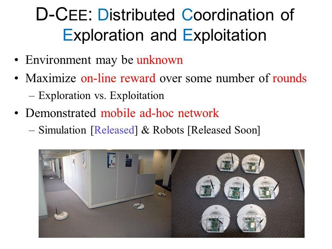 D-C EE : Distributed Coordination of Exploration and Exploitation Environment may be unknown Maximize on-line reward over some number of rounds –Explo