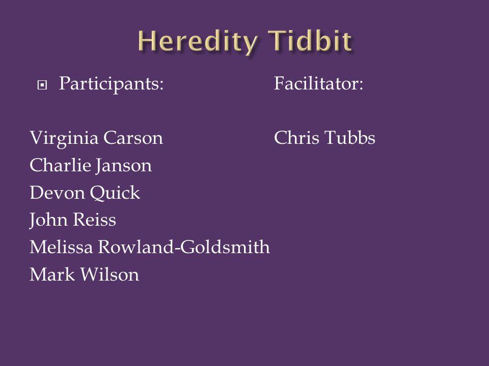  Participants:Facilitator: Virginia Carson Chris Tubbs Charlie Janson Devon Quick John Reiss Melissa Rowland-Goldsmith Mark Wilson