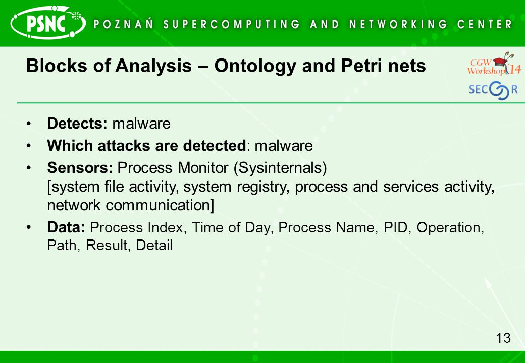 Blocks of Analysis – Ontology and Petri nets 13 Detects: malware Which attacks are detected: malware Sensors: Process Monitor (Sysinternals) [system file activity, system registry, process and services activity, network communication] Data: Process Index, Time of Day, Process Name, PID, Operation, Path, Result, Detail