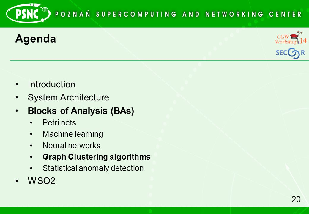 Agenda Introduction System Architecture Blocks of Analysis (BAs) Petri nets Machine learning Neural networks Graph Clustering algorithms Statistical anomaly detection WSO2 20