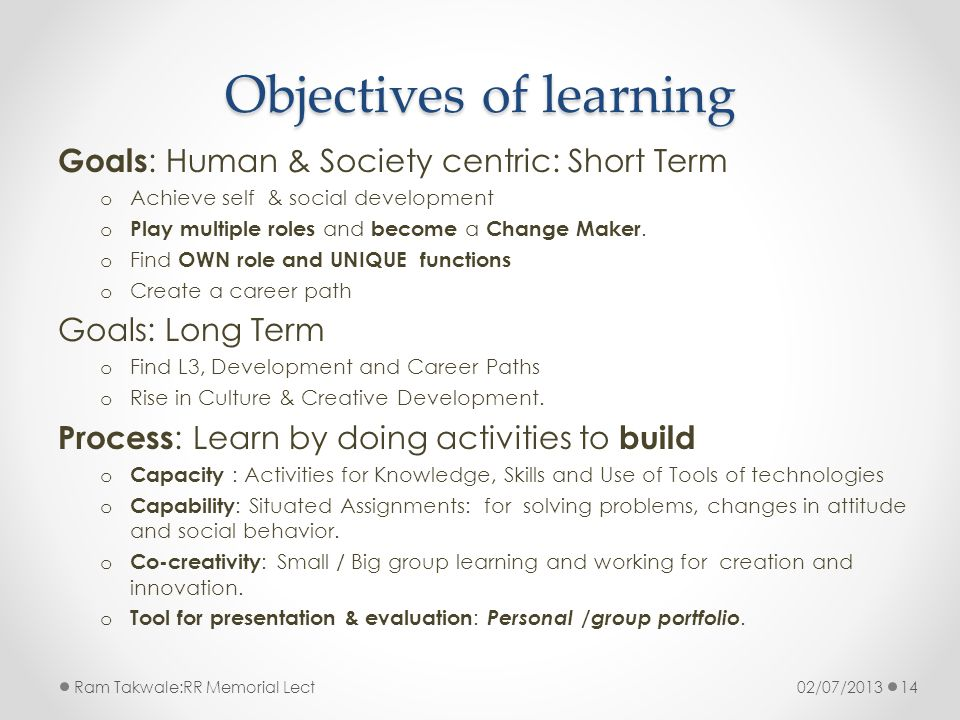 Objectives of learning Goals : Human & Society centric: Short Term o Achieve self & social development o Play multiple roles and become a Change Maker.