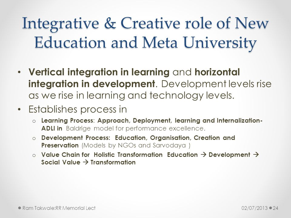 Integrative & Creative role of New Education and Meta University Vertical integration in learning and horizontal integration in development.