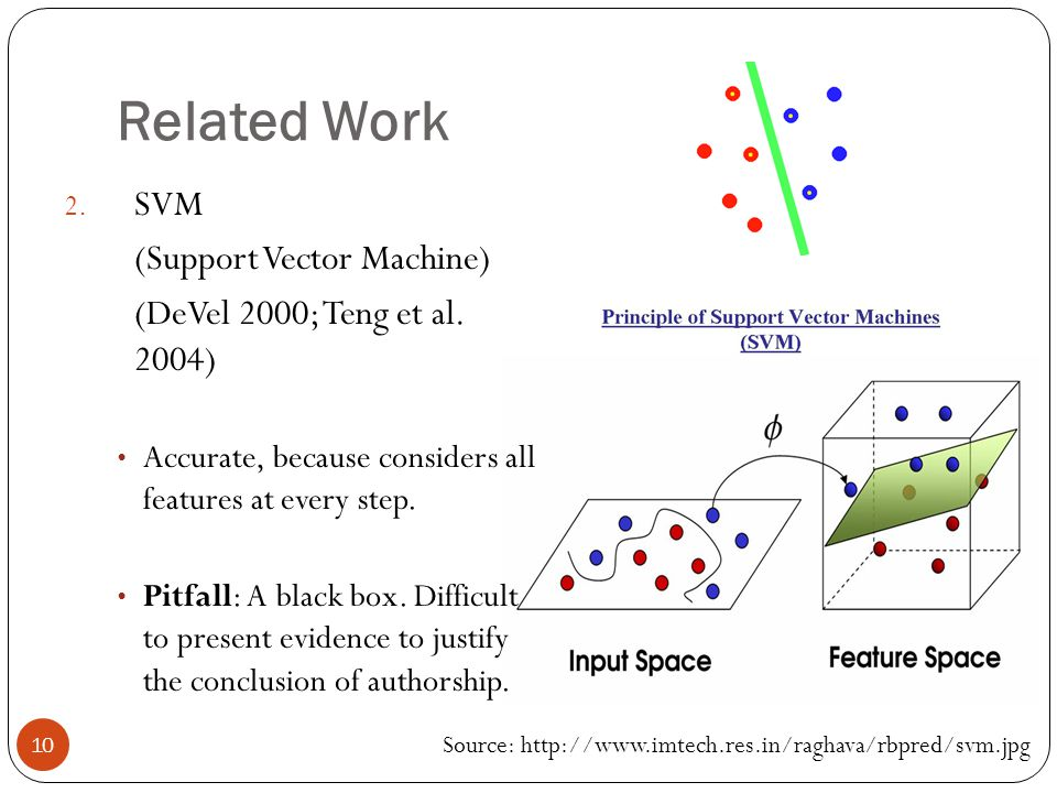10 Related Work 2. SVM (Support Vector Machine) (DeVel 2000; Teng et al. 2004) Accurate, because considers all features at every step. Pitfall: A blac