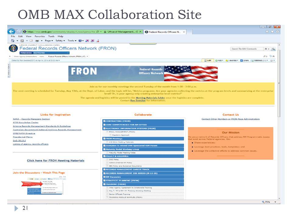 21 OMB MAX Collaboration Site