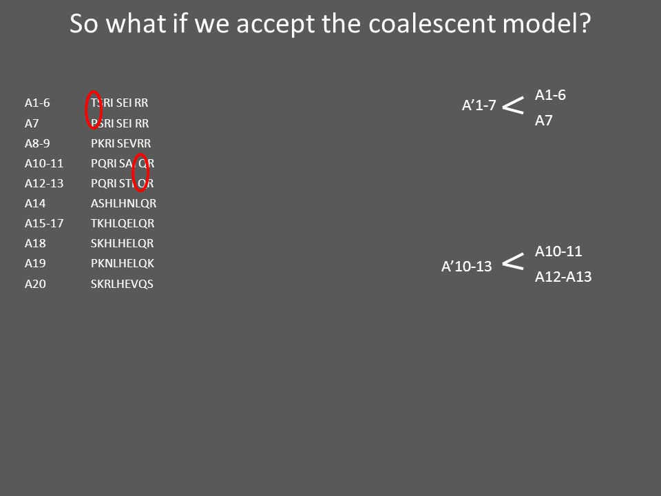 So what if we accept the coalescent model.
