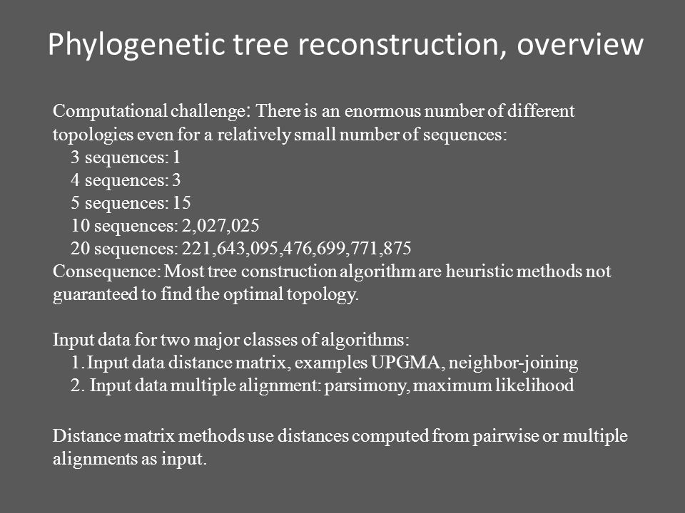 Phylogenetic tree reconstruction, overview Computational challenge : There is an enormous number of different topologies even for a relatively small number of sequences: 3 sequences: 1 4 sequences: 3 5 sequences: 15 10 sequences: 2,027,025 20 sequences: 221,643,095,476,699,771,875 Consequence: Most tree construction algorithm are heuristic methods not guaranteed to find the optimal topology.