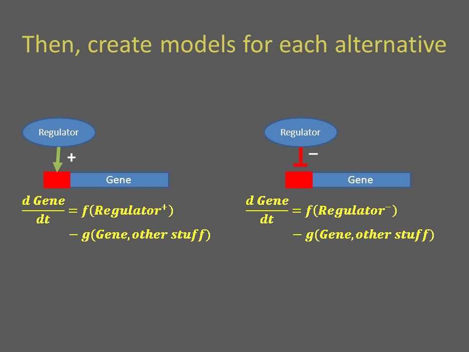 Then, create models for each alternative Gene Regulator + Gene Regulator _