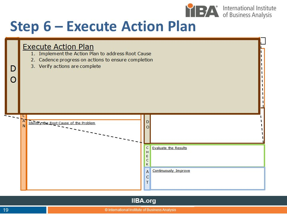 © International Institute of Business Analysis IIBA.org 19 Step 6 – Execute Action Plan