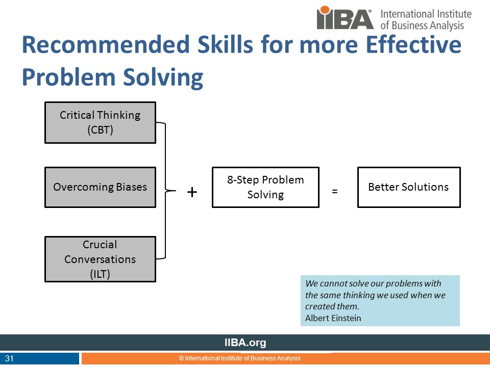 © International Institute of Business Analysis IIBA.org Recommended Skills for more Effective Problem Solving + 31 Critical Thinking (CBT) Overcoming Biases Crucial Conversations (ILT) 8-Step Problem Solving Better Solutions = We cannot solve our problems with the same thinking we used when we created them.