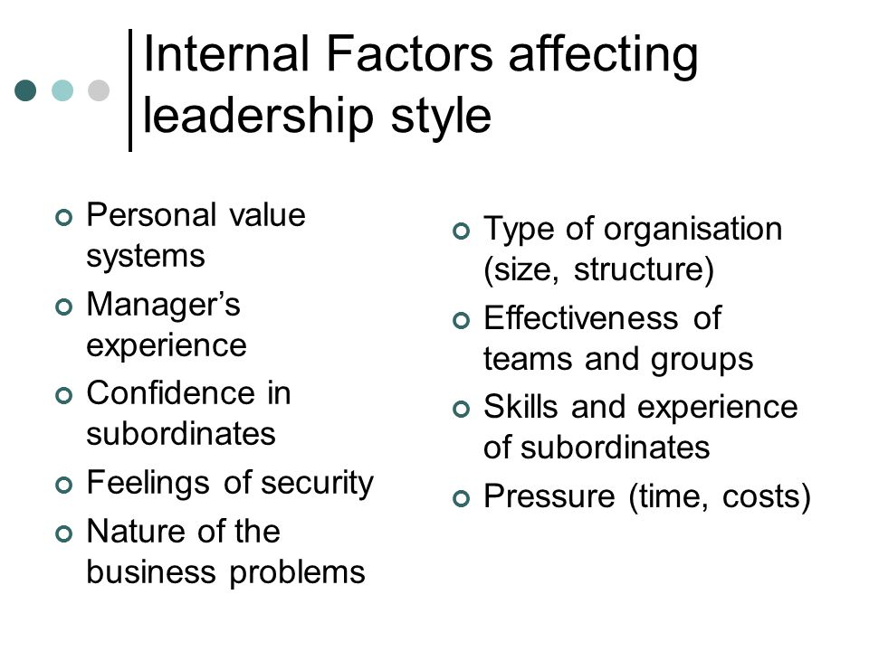 Personal value systems Manager's experience Confidence in subordinates Feelings of security Nature of the business problems Type of organisation (size