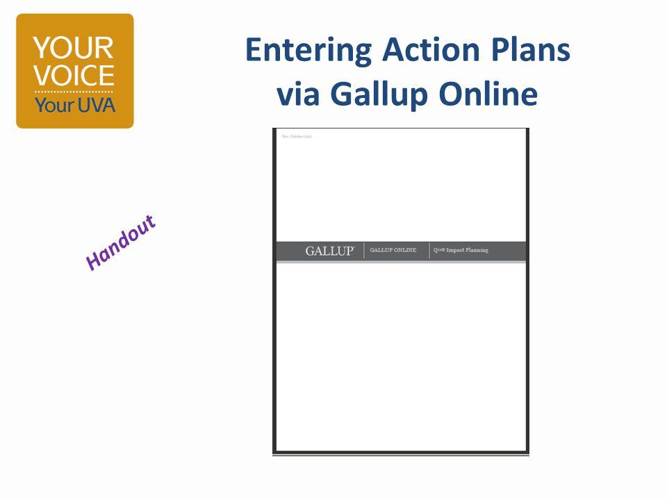 Entering Action Plans via Gallup Online Handout