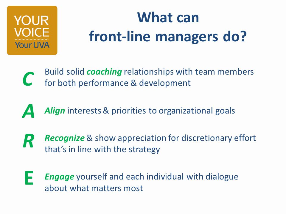What can front-line managers do? Build solid coaching relationships with team members for both performance & development Align interests & priorities