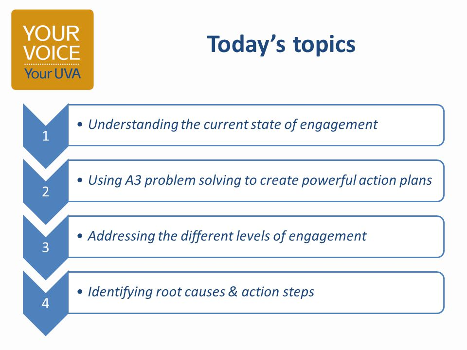 Today's topics 1 Understanding the current state of engagement 2 Using A3 problem solving to create powerful action plans 3 Addressing the different l
