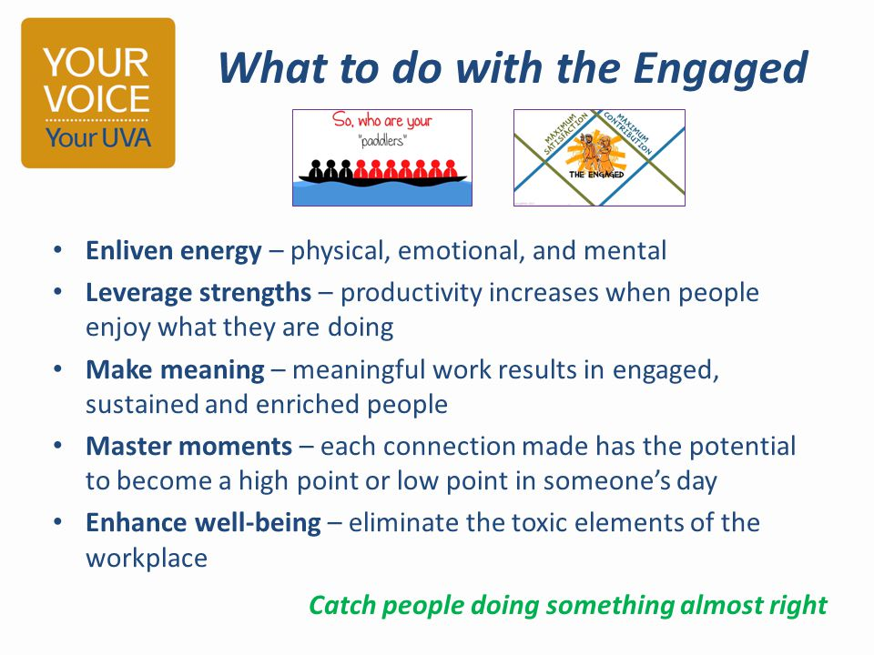 Enliven energy – physical, emotional, and mental Leverage strengths – productivity increases when people enjoy what they are doing Make meaning – mean