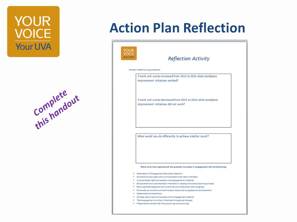 Action Plan Reflection Complete this handout