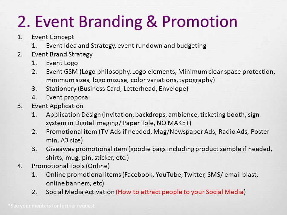 2. Event Branding & Promotion2.